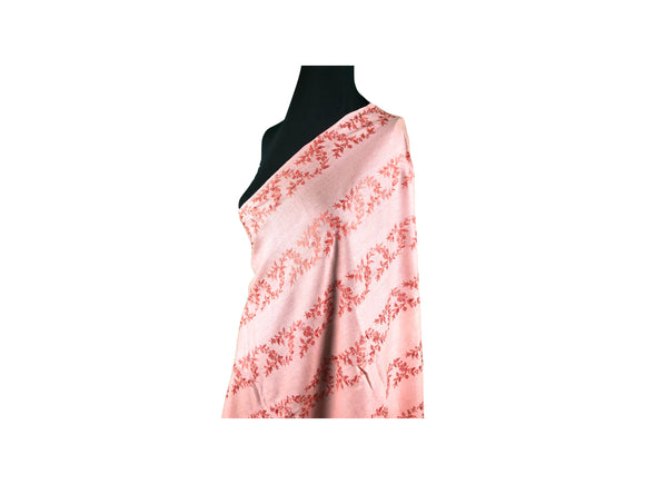 Abeel Pashmina Peach with Dark Peach Stole Strips Aari Embroidery Stole from Kashmir
