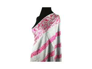 Abeel Pashmina Gray with Pink Stole Boarder and Strips Aari Embroidery Stole from Kashmir