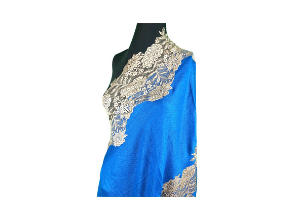 Abeel Pashmina Blue with Lace Boarders Stole from Kashmir
