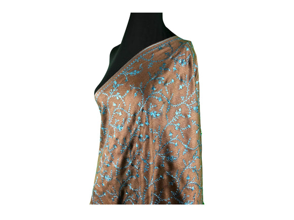 Abeel Pashmina Coco Stole with Blue Aari Embroidery from Kashmir, India
