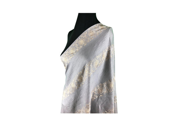 Abeel Pashmina Gray Stole with Aari Embroidery from Kashmir, India