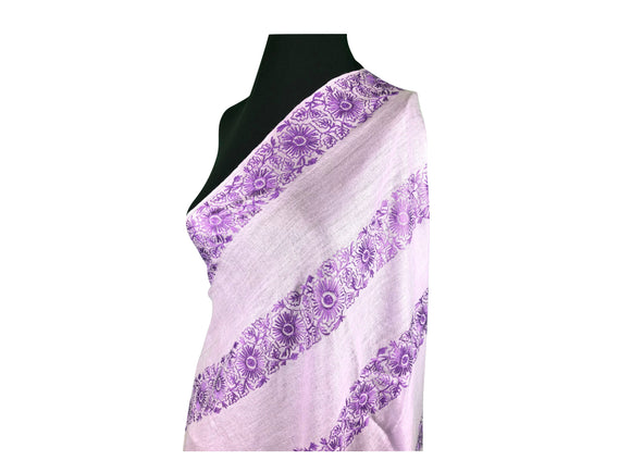 Abeel Pashmina Lavender with Aari Embroidery from Kashmir, India