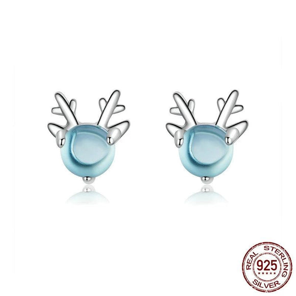 Crystal Stone Deer Animal Stud Earrings