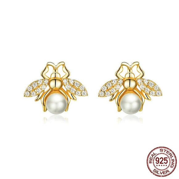 Cute Insect Pearl Stud Earrings