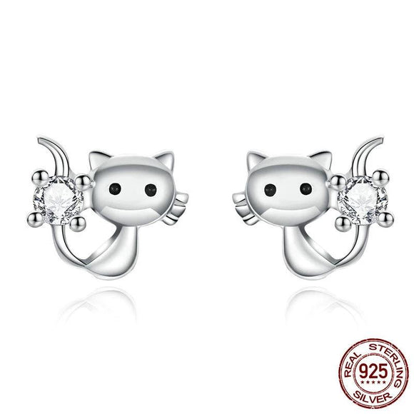 Cute Cat Kitty 925 Sterling Silver stud Earrings