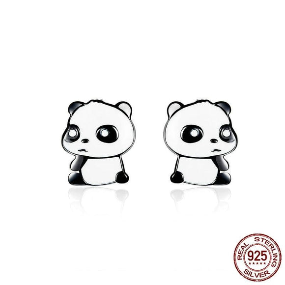 Panda Baby Enamel 925 Sterling Silver Stud Earrings
