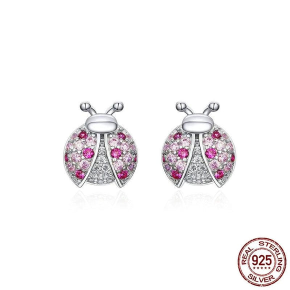 Pink Romantic Lady Bug Stud Earrings