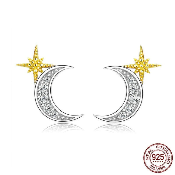 Moon and Stars Stud Earrings Authentic 925 Sterling Silver