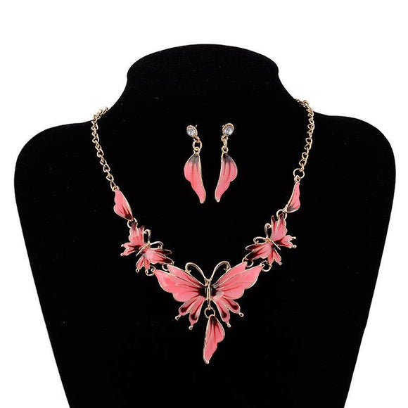 Butterfly Necklace Earrings Jewelry Set