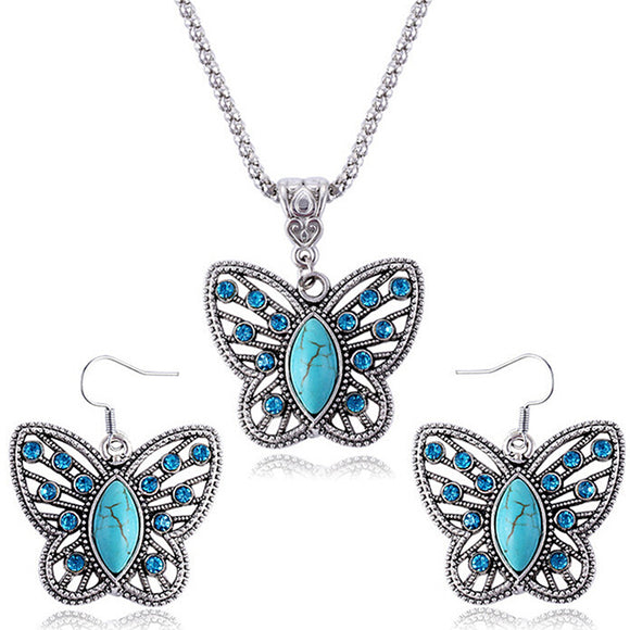 Butterfly Crystal Elegant Vintage Earrings Necklaces Jewelry Sets