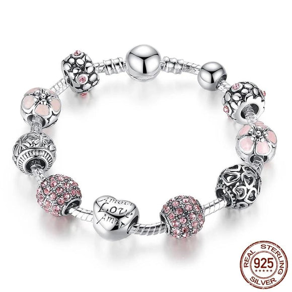 Silver Charm Bracelet & Bangle with Heart and Flower Beads
