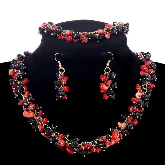 Stone Vintage Full Black Red Nature Coral Beads Earrings Bracelets Choker Necklaces Set