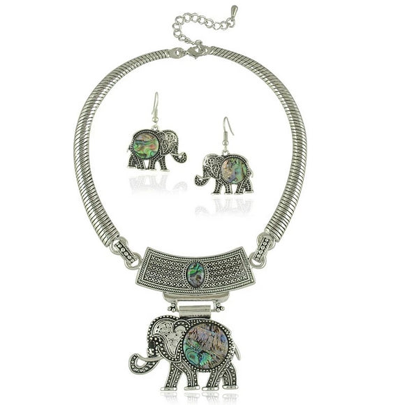 Tibetan Style Elephant Choker Necklace and Earring Jewelry Set
