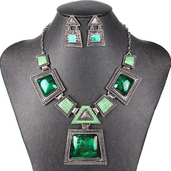 Antique Silver Plated 4 Color Necklace Set