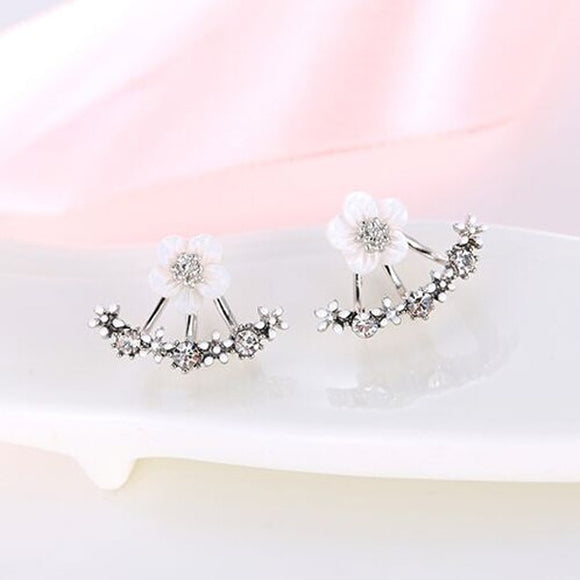 Crystal Flower Stud Earrings Women