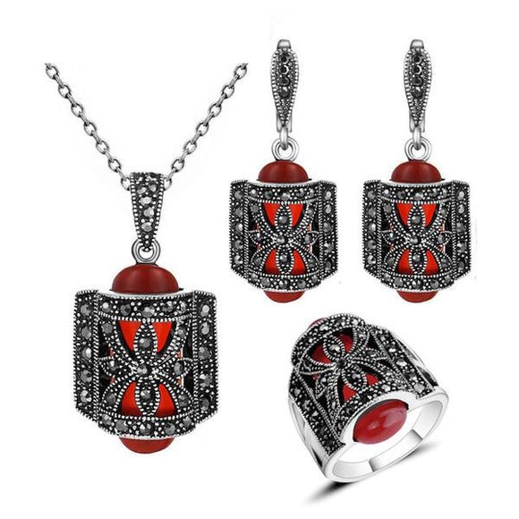 Antique Silver and Red Color Rhinestone Fashion Vintage Jewelry Set