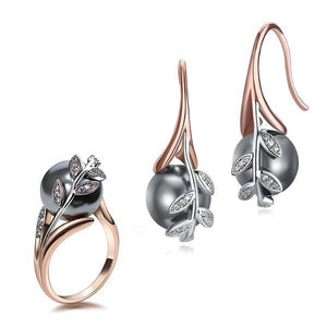 Earrings ring sets Rose Gold Plate Grey Pearl
