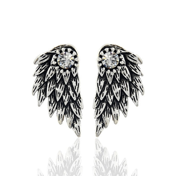 Gothic Silver Color Cool Angel Wings Stud Earrings