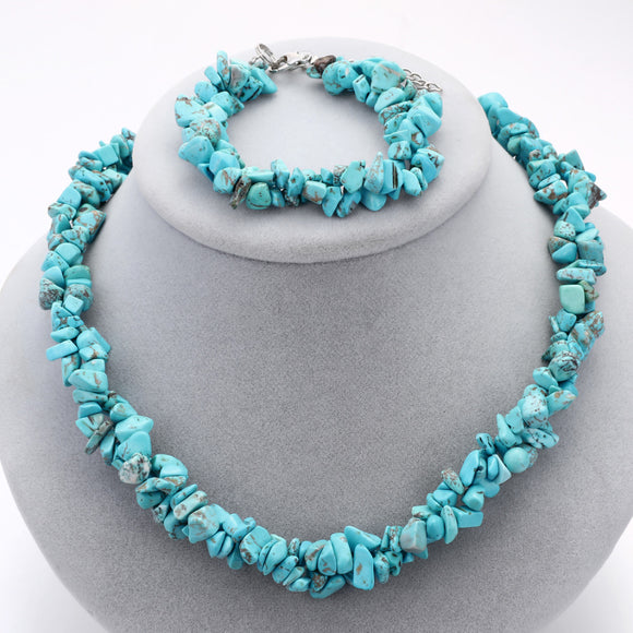 Coral Stone Chocker Necklace Set Full Natural Stone Beads Necklace Bracelets Jewelry Sets