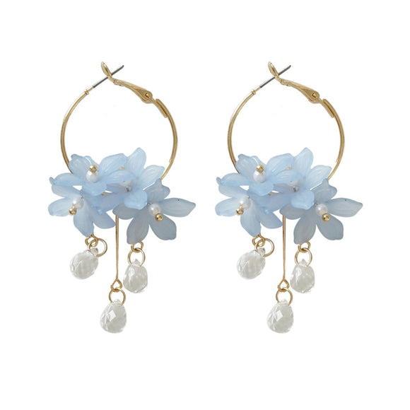 Dust flower long pearl Stud Earrings