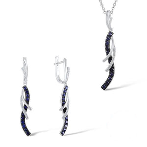 Charming Blue White CZ Earrings Pendant Jewelry Set