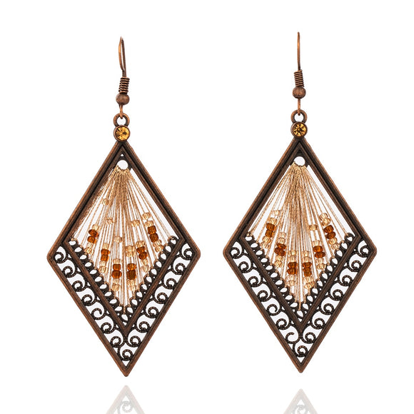 Boho Ethnic Geometric Thread Dangle Drop Earrings with Beads