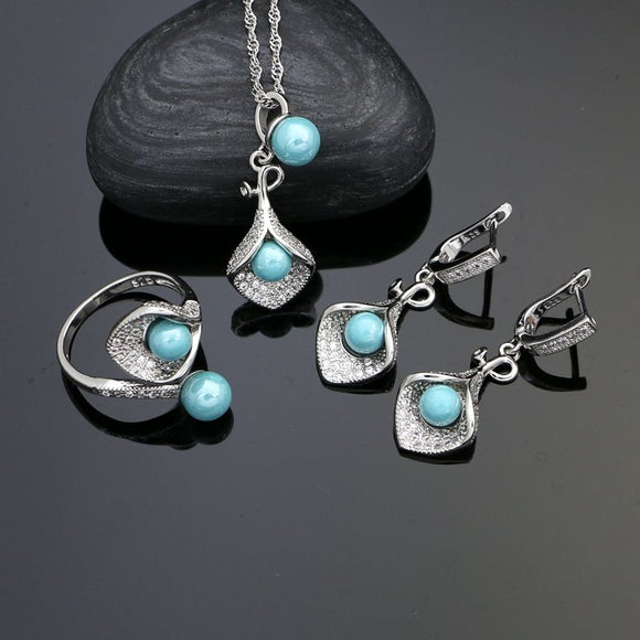 Blue Pearl Beads White Crystal Earrings Necklace Pendant Ring Set