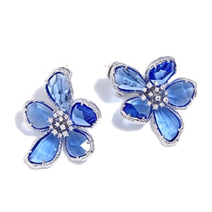 Austrian Crystal Big Flowers Earrings Silver Color Rhinestone Statement Stud Earring