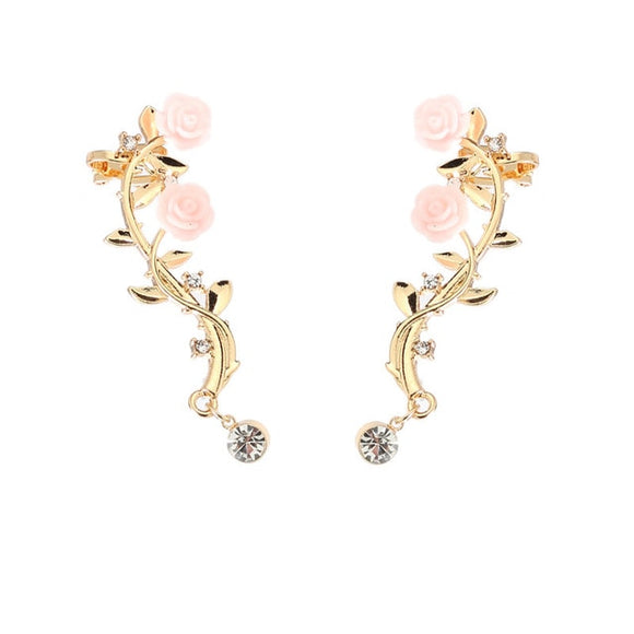 Elegant Flower Shape Rhinestone Ear Cuff Clip Gold & Sliver Color Boho Earring Ear Stud