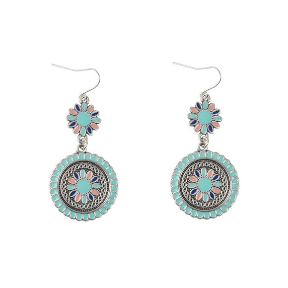 Boho Round Flower Hanging Earrings