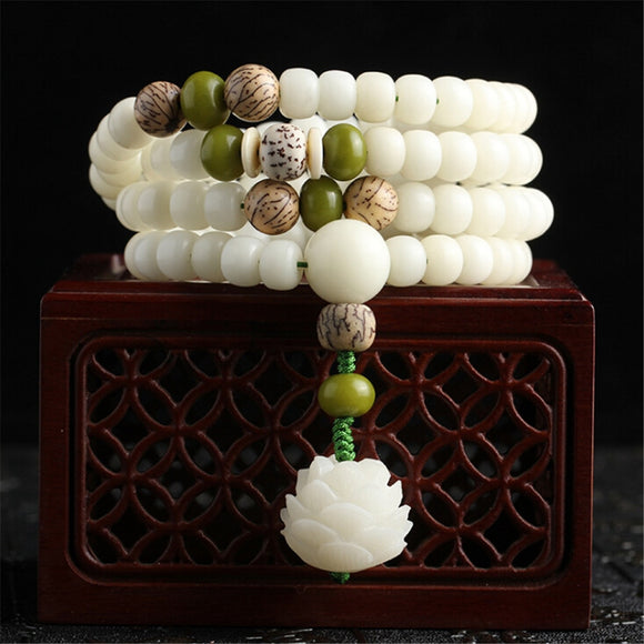 Natural White Bodhi Root Beads Bracelet 108 Lotus Mala