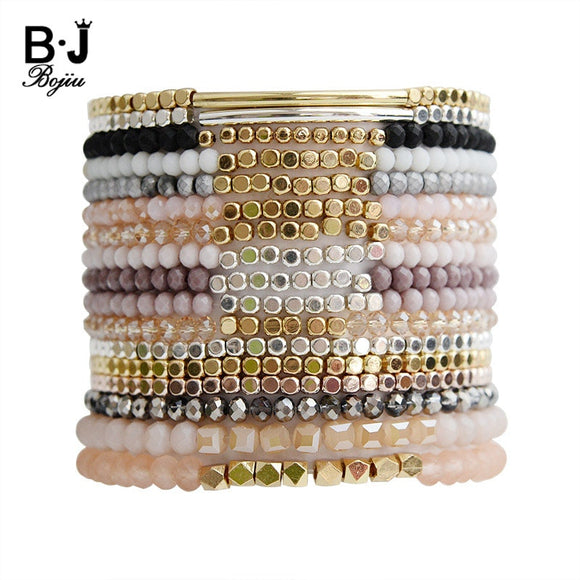Multicolor Crystal Beads Pink White Black Gray Crystal Bracelet