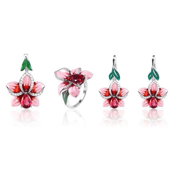 Pink Orchid Jewelry Set or  Earrings or Ring