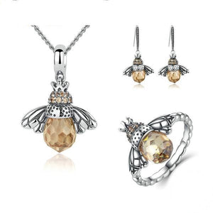 Lovely Orange Bee Animal Sterling Sliver Jewelry Set