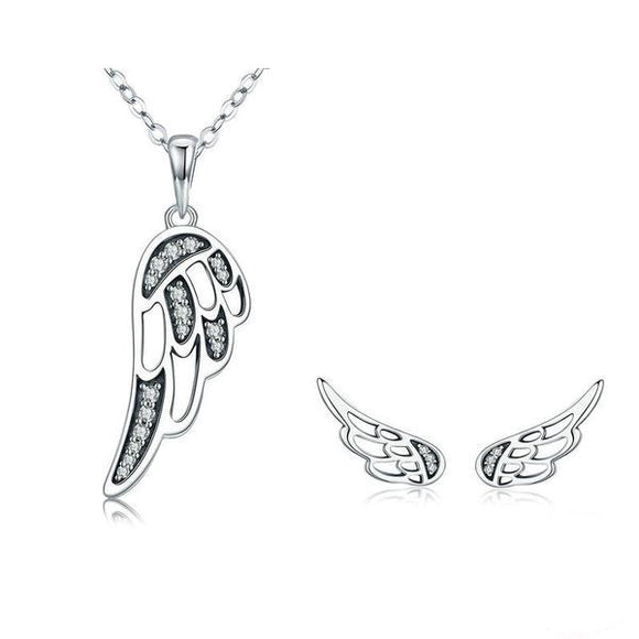 Fairy Wings Feather Authentic Sterling Silver Necklace Earrings Jewelry Set