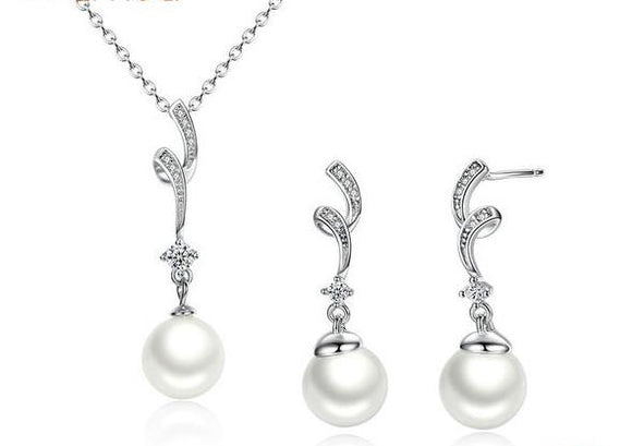 Popular Sterling Silver White Pearl Pendant Necklace & Earrings Jewelry Set for Women