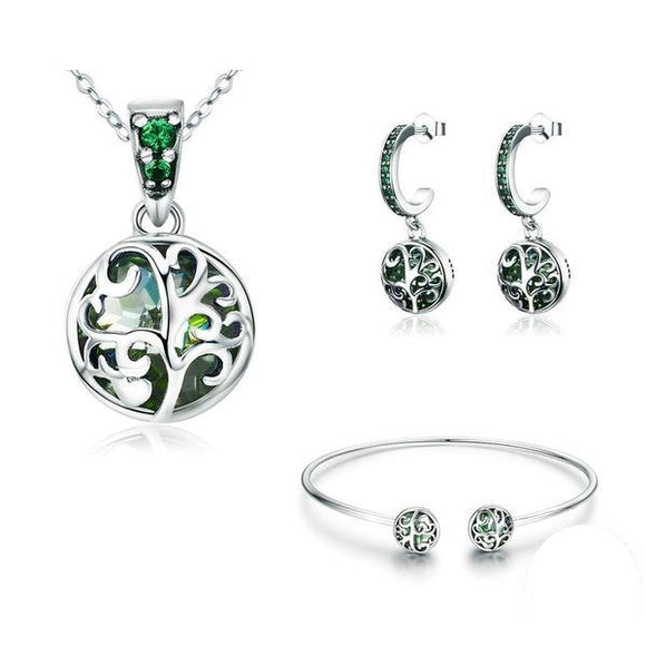 Authentic Sterling Silver Sets Tree of Life Green Crystal Jewelry Set