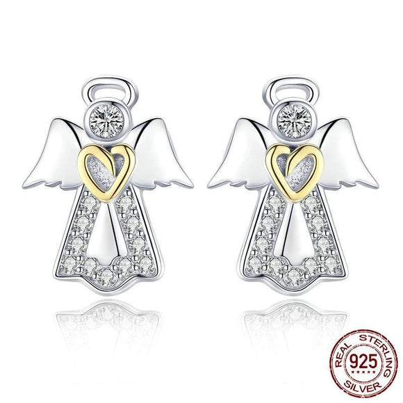 Genuine 925 Sterling Silver Guardian Angel Exquisite Stud Earrings
