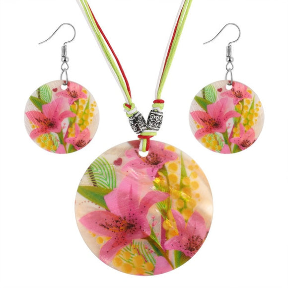 Colorful Shell Stone Enamel Pendant Necklace Sets