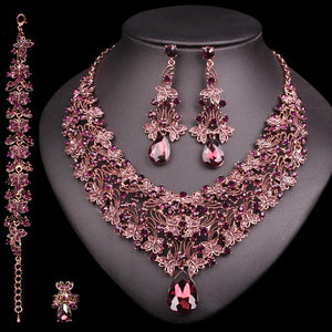 Vintage Statement Necklace Earrings Set Retro Indian Bridal Jewelry Sets