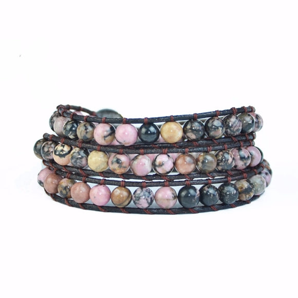 Leather Wrap Natural Stone Bracelets Beaded Bracelet