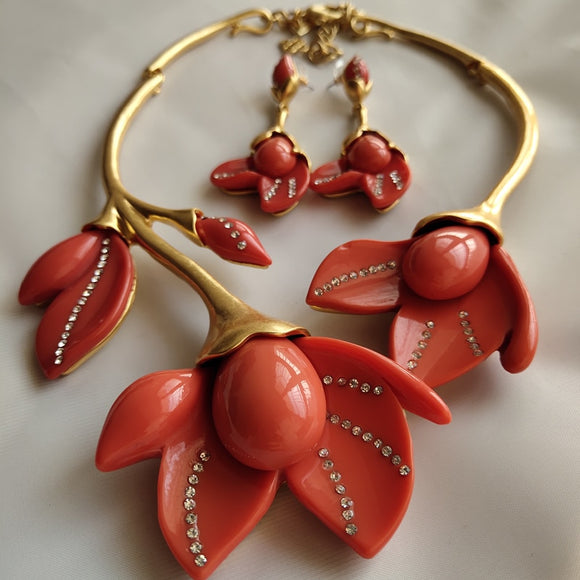 Copper Red Magnolia flowers Short Necklace Earrings Jewelry Set