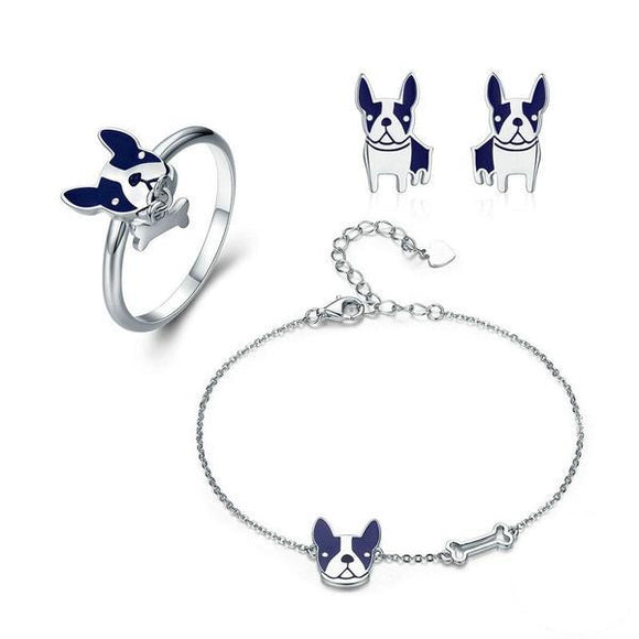 Sterling Silver French Bulldog Dog Ring & Bracelet & Earrings Jewelry Set