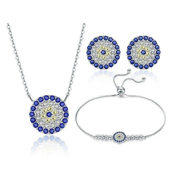 Sterling Silver Round Blue Eyes Bracelets Necklaces Earrings Jewelry Sets