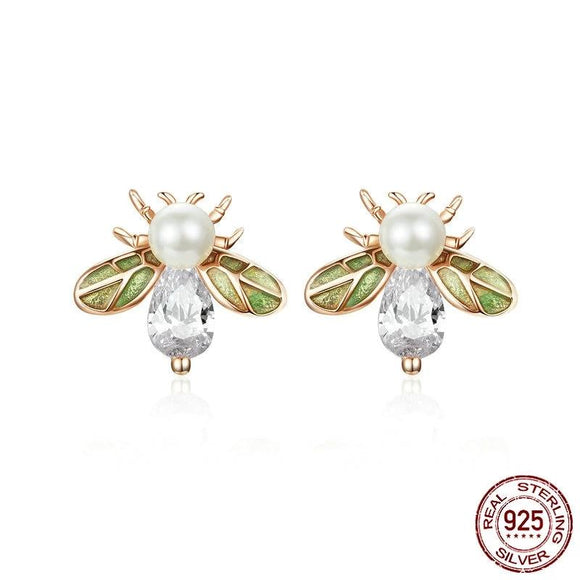Crystal Queen Bee with Green Wings Stud Earrings