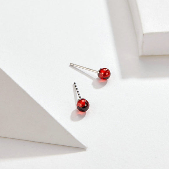 Natural Stone Stud Earrings Sterling Silver