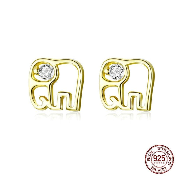 Sketch Line Elephant Stud Earrings Gold Color 925 Sterling Silver