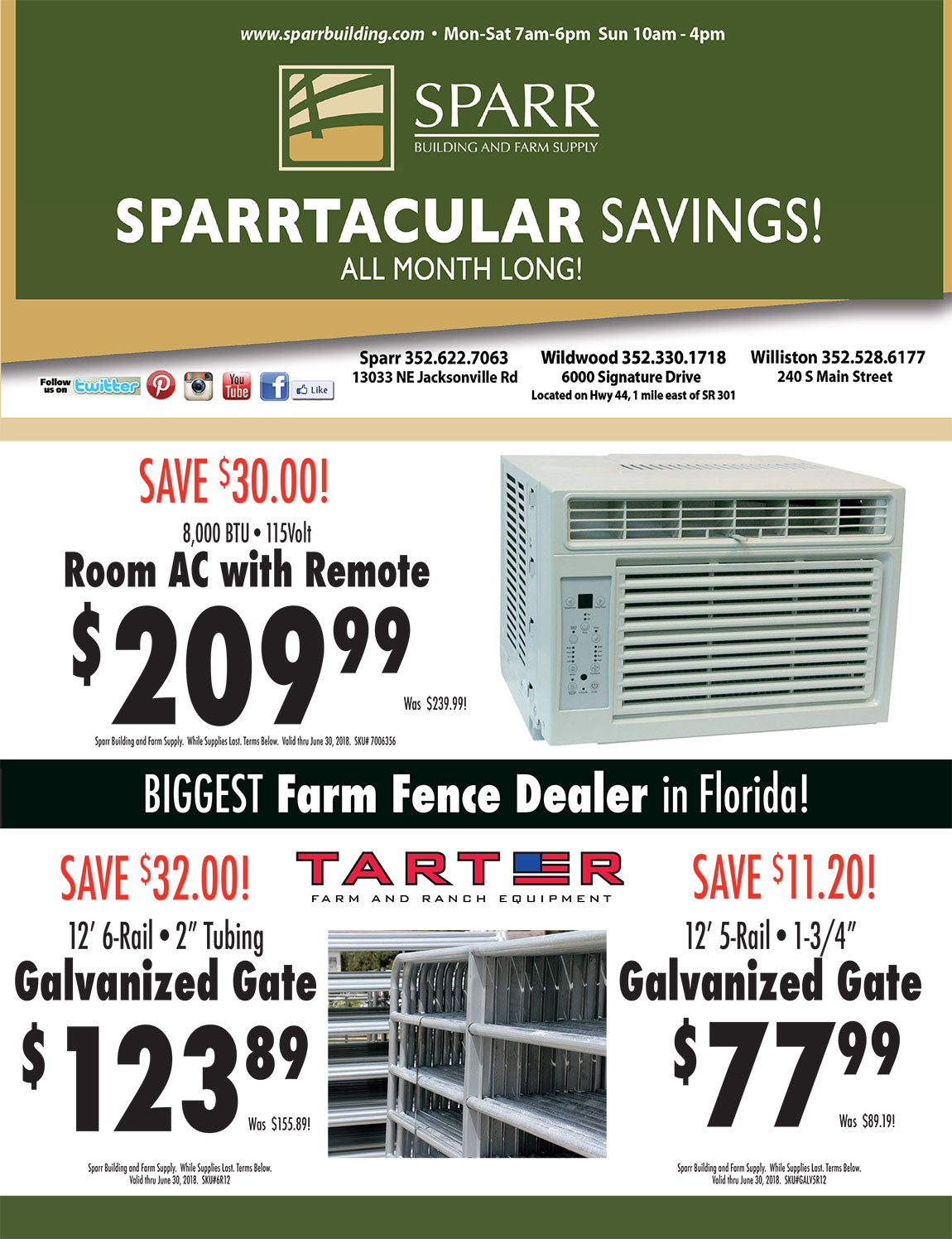 Stop By Your Local Sparr Building And Farm Supply Store Or Shop Online And  SAVE BIG On These Items During The Month Of JUNE 2018!