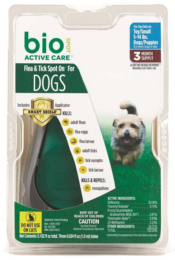 Bio Spot Active Care Flea & Tick Spot On Dog Small 3 Month With Applicator