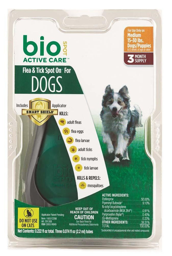Bio Spot Active Care Flea & Tick Spot On Dog Medium 3 Month With Applicator